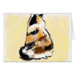 Calico cat viewed from the back greeting card