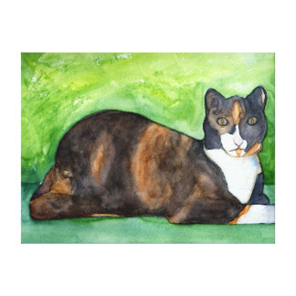 Calico Cat Watercolor Painting Canvas Art