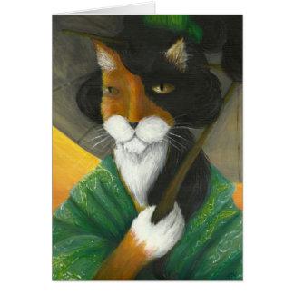 Calico Cat Wearing Green Kimono Card
