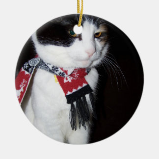 Calico Cat Wearing Scarf Ornament