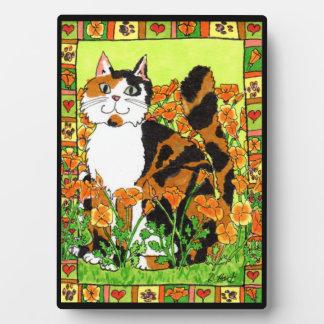 Calico Cat with California Poppies Folk Art Plaque