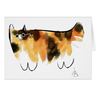 Calico cat with eyeglasses card