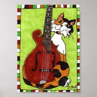 Calico Cat with Mandolin Mini Folk Art Poster