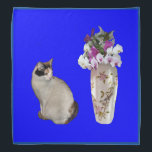 """Calico Cat With Orchids Bandana<br><div class=""""desc"""">A calico cat and a vase filled with orchids on a blue background are featured on this lovely bandana</div>"""
