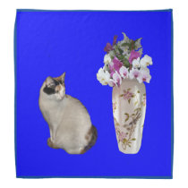 Calico Cat With Orchids Bandana