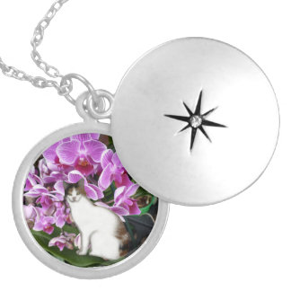 Calico Cat With Orchids Silver Plated Necklace