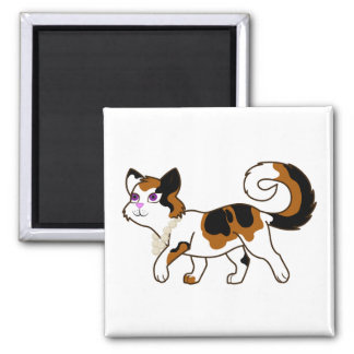 Calico Cat with Pearl Necklace 2 Inch Square Magnet