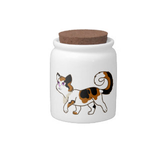 Calico Cat with Pearl Necklace Candy Jars