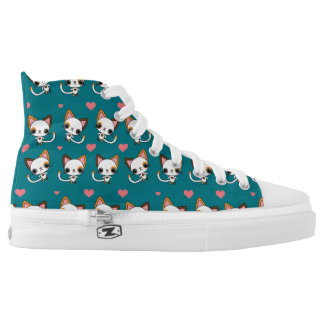 Calico Cat with Pink Hearts High-Top Sneakers