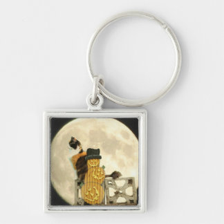 Calico Cat with Pumpkin Scarecrow with Full Moon Keychain