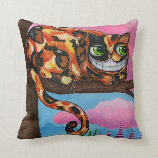 Calico Cheshire Cat Alice in Wonderland Throw Pillow