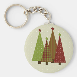 Calico Christmas Trees Keychain