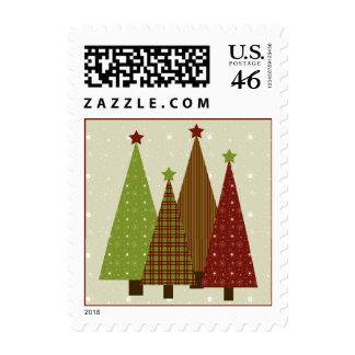 Calico Christmas Trees Postage Stamp