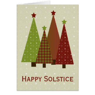 Calico Christmas Trees - Solstice Card