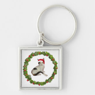 Calico Christmas Wreath Keychain