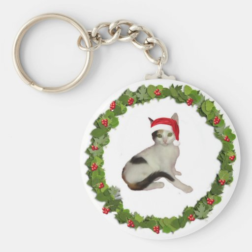 Calico Christmas Wreath Basic Round Button Keychain