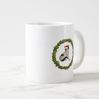Calico Christmas Wreath 20 Oz Large Ceramic Coffee Mug