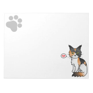 Calico Coat Maine Coon Cat With A Heart And A Paw Notepad