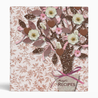 Calico Coffee Chocolate Pink Brown Recipe Binder