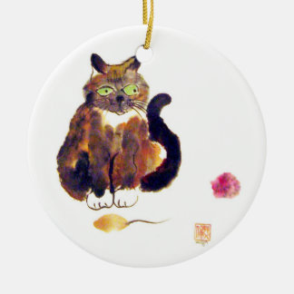 Calico Colors - kitty has two toys Ornament