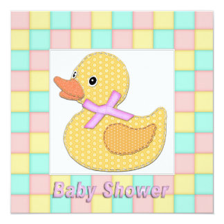 Calico Duckling Pink Bow Pastel Squares Shower A Card