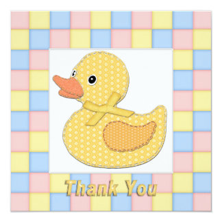 Calico Duckling Yellow Bow Pastel Squares Thanks B Card