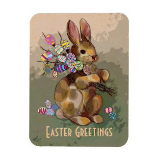 calico easter bunny rectangular photo magnet