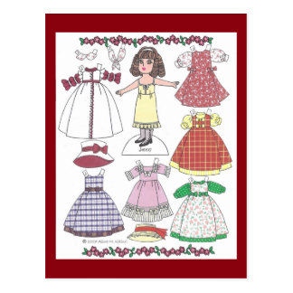 Calico Girl Jenny Paper Doll Postcard