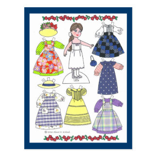 Calico Girl Lillie Paper Doll Postcard