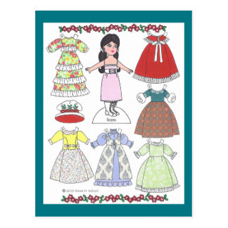 Calico Girl Susan Old-Fashioned Paper Doll Postcard