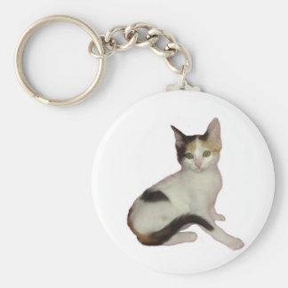 Calico Kitten Cutout Keychain