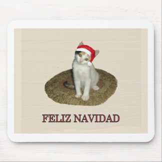 Calico Kitten Feliz Navidad Mouse Pad
