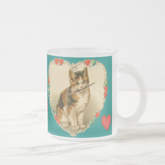 Calico Kitten in Heart Frosted Glass Coffee Mug