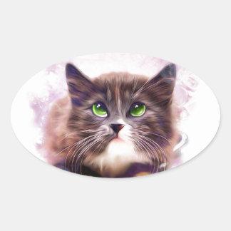 Calico Kitten Oval Sticker