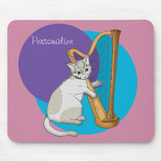 Calico Kitten Plays the Harp Mouse Pad