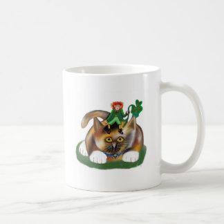 Calico Kitten Plays with her Leprechaun Pal Coffee Mug