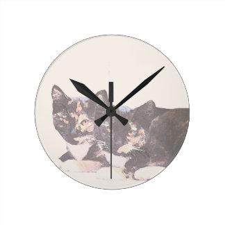 Calico Kittens Wall Clock