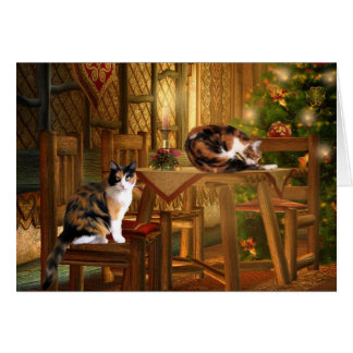Calico kitties Christmas Card