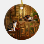 Calico kitties Christmas Double-Sided Ceramic Round Christmas Ornament