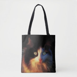 Calico kitty cat face tote bag