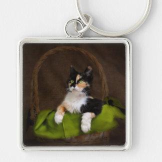 Calico Kitty Cat in Basket Classic Photo Keychain