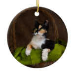 Calico Kitty Cat in Basket Classic Photo Ornament