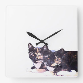 Calico Kitty Cat Kittens Animals Pets Clock