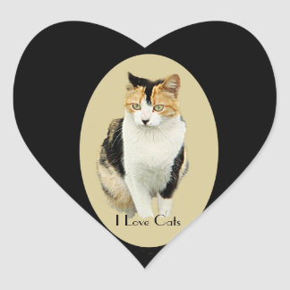 Calico Kitty Heart Sticker
