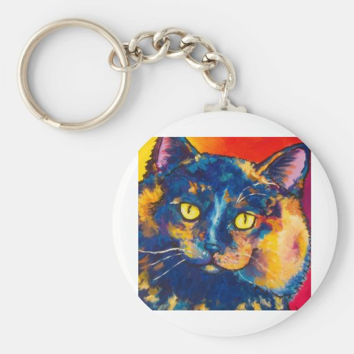 Calico Long Hair Cat Keychains