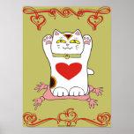 Calicó Neko con los corazones Posters