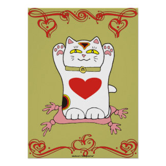 Calico Neko with Hearts Print