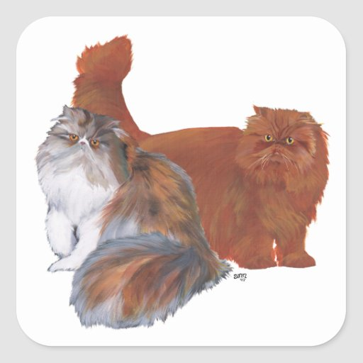 Calico Persian Cat and Red Longhair Cat Stickers