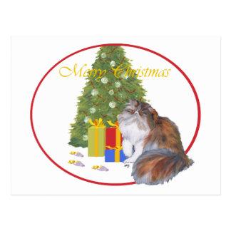 Calico Persian Cat Christmas Postcard