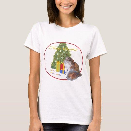Calico Persian Cat Christmas T-Shirt